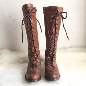 Frye Melissa lace up brown leather tall boots